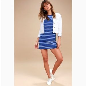 Lulus Royal Blue Stripe T-shirt Dress